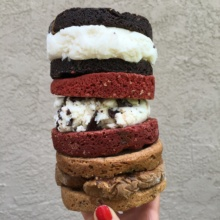 Stack of Gluten-free ice cream sandwiches from Glacier Ice Cream